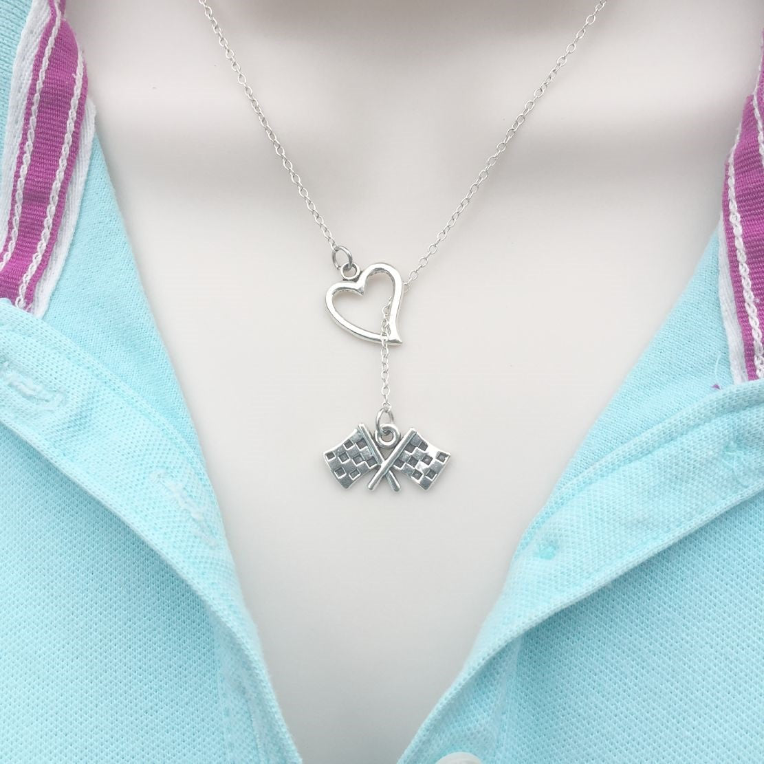 I Love Racing Silver Checker Flag Lariat Y Necklace.
