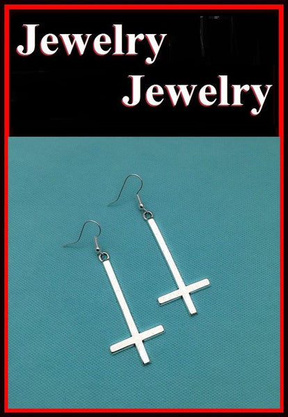 "1-1/2"" Length SILVER UPSIDE down CROSS Metal Earrings"