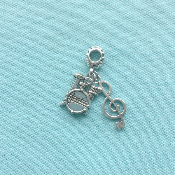 "Drummer ""DRUM SET & MUSIC NOTE"" Silver Bead For Charm Bracelets"