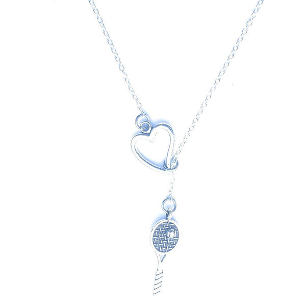 I Love to Play Tennis Silver Racket Lariat Y Necklace.