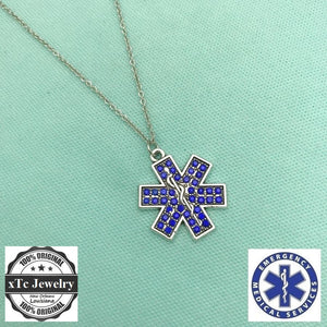 I Love EMT Star of Life Silver Lariat Necklace, EMT logo Star of Life is fill with Gems.