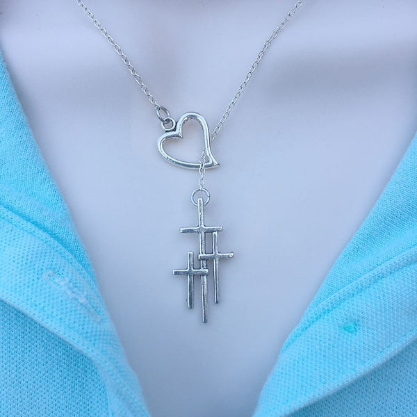 Love Papal or Triple Cross Silver Lariat Y Necklace.
