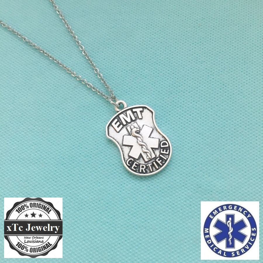 EMT CERTIFIED Large Silver Charm Necklace,