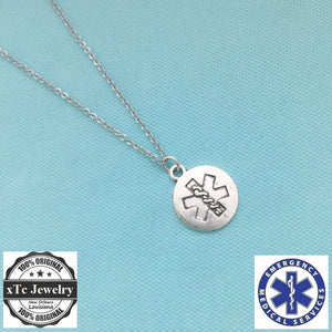 EMT Caduceus Silver Charm Necklace,