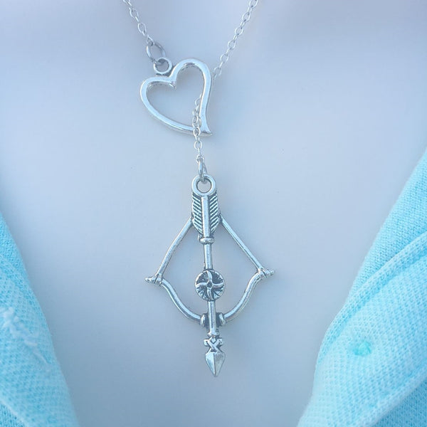 Walking Dead Bow n Arrow Silver Lariat Y Necklace.