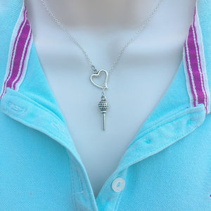 Love Golf Handcrafted Silver Tee Lariat Y Necklace.