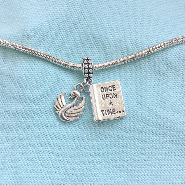 "Once Upon A Time ""NOVEL & SWAN"" Silver Bead For Charm Bracelets"