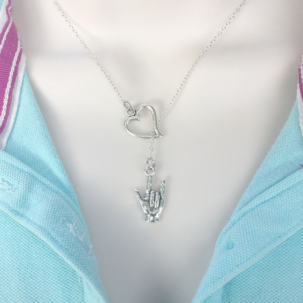 I Love You Silver Sign Language Lariat Y Necklace.