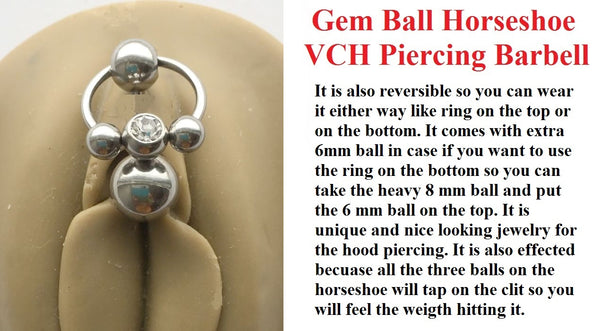 Gem Ball Horseshoe  VCH HEAVY BALL Piercing Barbell for EXTRA PRESSURE.