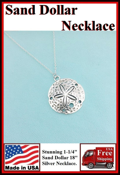 "Stunning 1-1/4"" Silver SAND DOLLAR Charm Necklaces."