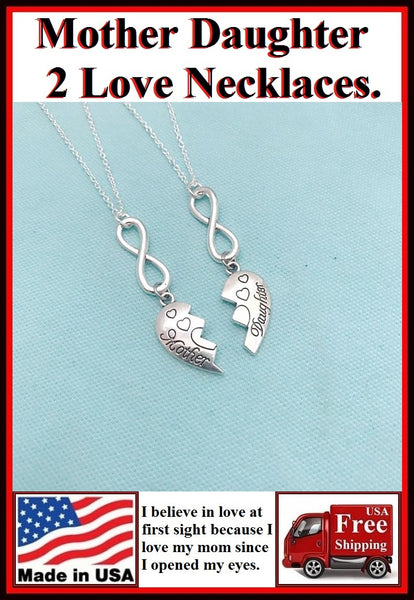 2 Mother n Daughter Love 4ever Charms Necklaces Set.