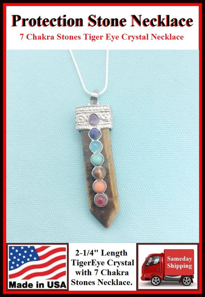 "Tiger Eye 2-1/4"" Crystal 7 Chakra Stones Necklace to Protect."