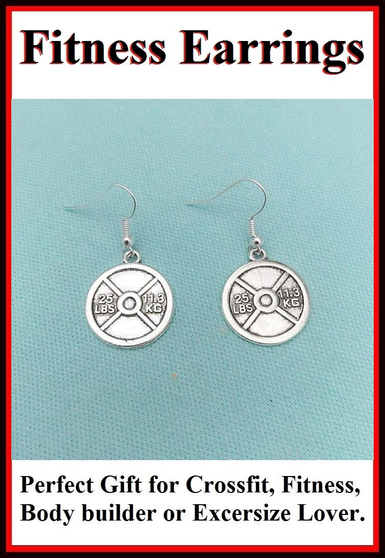 Beautiful Handcraft Weight Plate Charms Dangle Earrings.