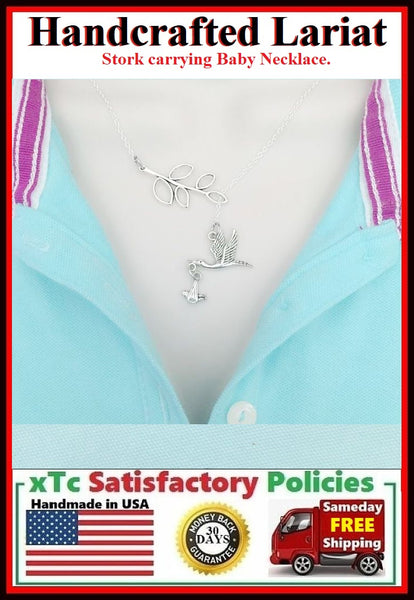 Newly MOM; Stork w Baby Necklace Lariat Style. Pregnancy Gift.