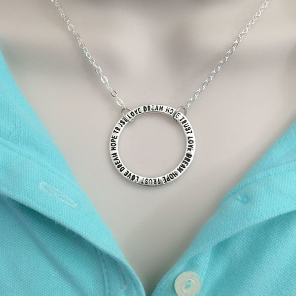 """Trust, Love, Dream, Hope"" Karma Circle Charm Necklaces."