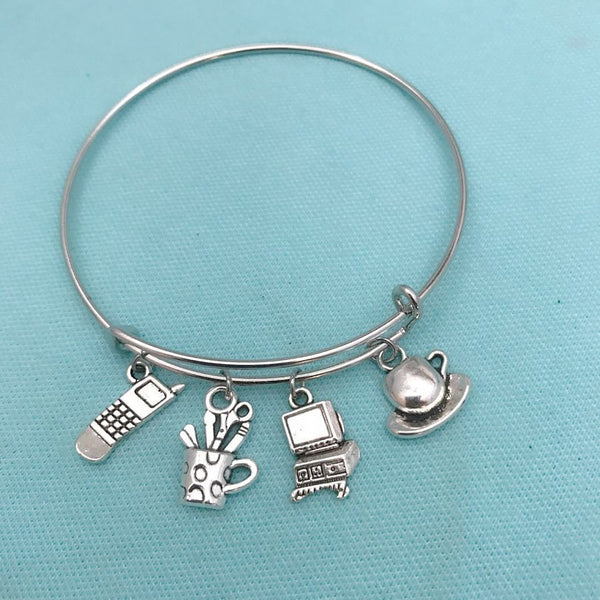 SECRETARY, AA, OFFICE WORKER, STENO Charms Bangle.