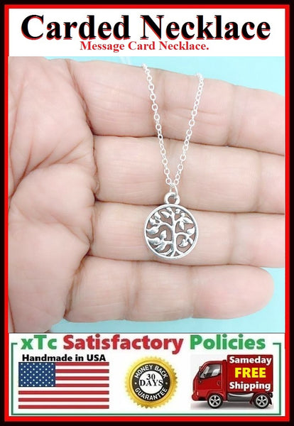 Mother in Law Gift, Handcrafted Family Tree Silver Charm Necklace.