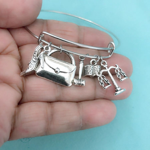 Attorney or Lawyer theme Charms Expendable Bangle.