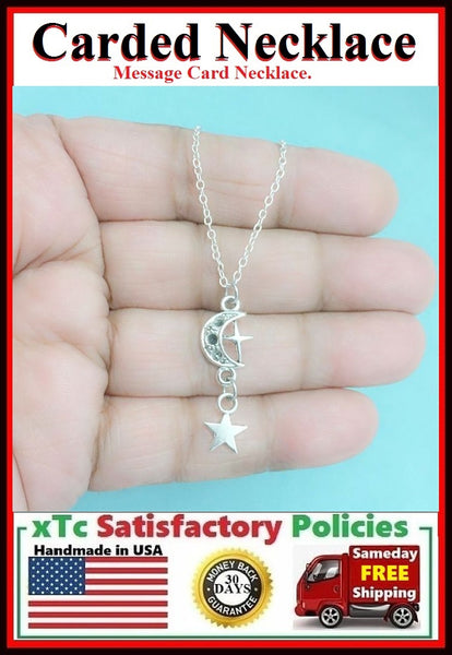 Missing You Necklace;  Handcrafted Moon n Star Charms Necklace.