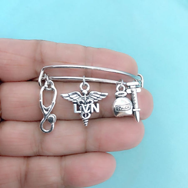 Medical Bracelet : LVN Related Charms Expendable Bangle.