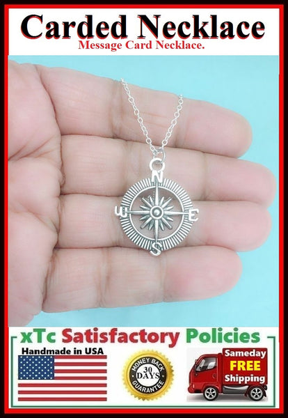 TEACHER/MENTOR Gift; Handmade Silver COMPASS Charm Necklace.
