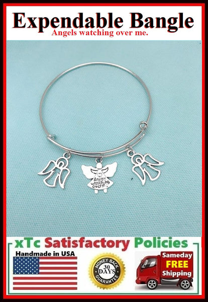 """Angels Watching Over Me"" Charms Bangle."