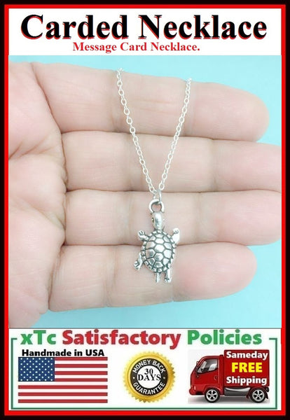 Complimented Gift; Handcrafted Silver Sea Turtle Charm Necklace.