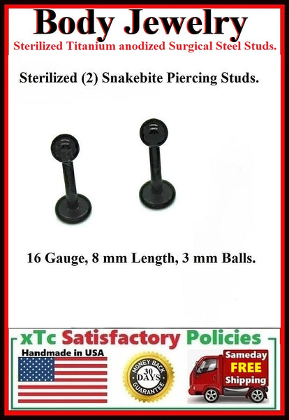 PAIR Sterilized Black anodized Surgical Steel 16g, 8mm  Studs.