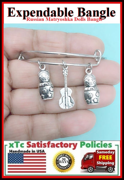 RUSSIAN Matryoshka Dolls & Semistrunnya Guitar Charms Bangle