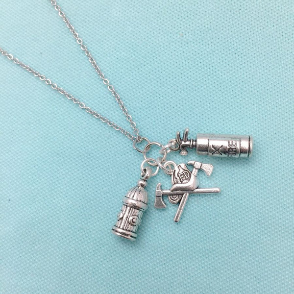 Firefighter Axes n Helmet, Fire Hydrant & Fire Extinguisher Silver Chain Necklace