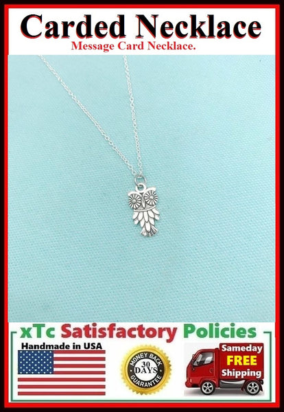 Wise Gift; Handcrafted Silver Wise Bird Owl Charm Necklace.