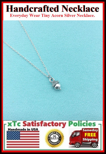 Everyday Wear: Stunning Tiny Acorn Silver Charm Necklace.