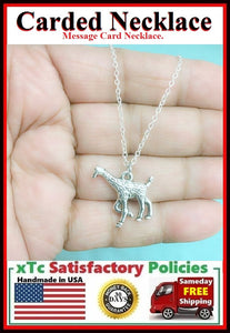 Handcrafted Motivational Silver GIRAFFE Charm Necklace.