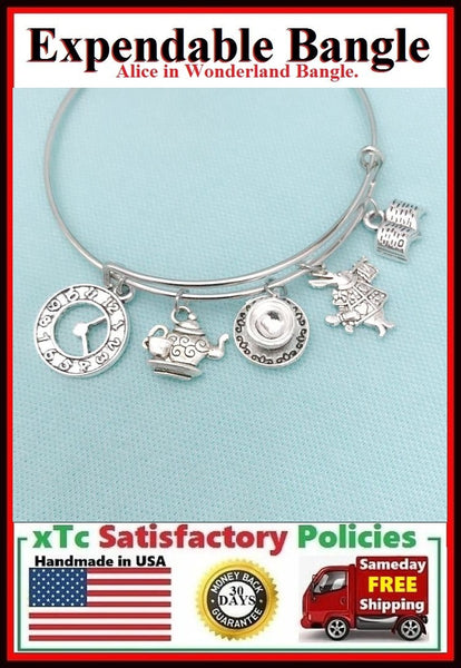 ALICE in WONDERLAND Inspired Theme Charms Expendable Bangle