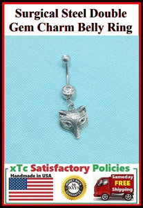 Surgical Steel Double Gems Belly Ring with Wolf Head Charm.