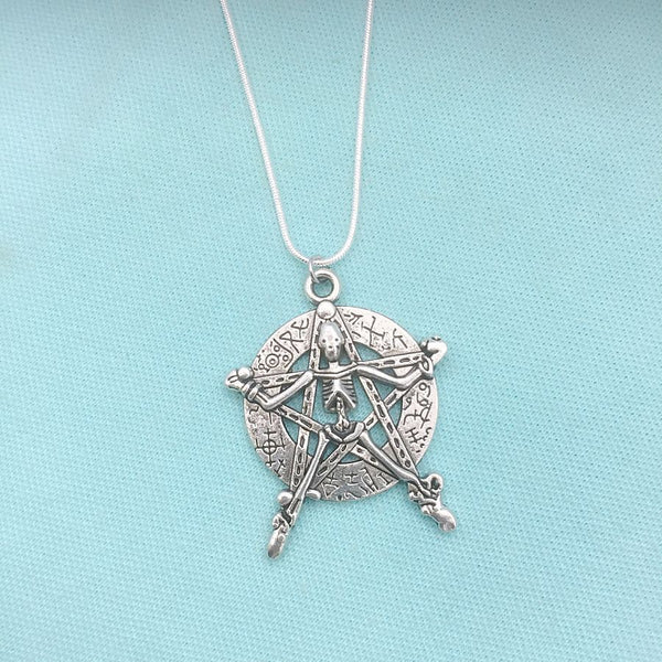 Large Antique Silver Pentagram with Crucified Skeleton Charm Necklace.