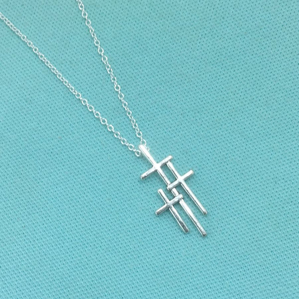 "Beautiful Triple Cross Silver Charm 18"" Necklace."