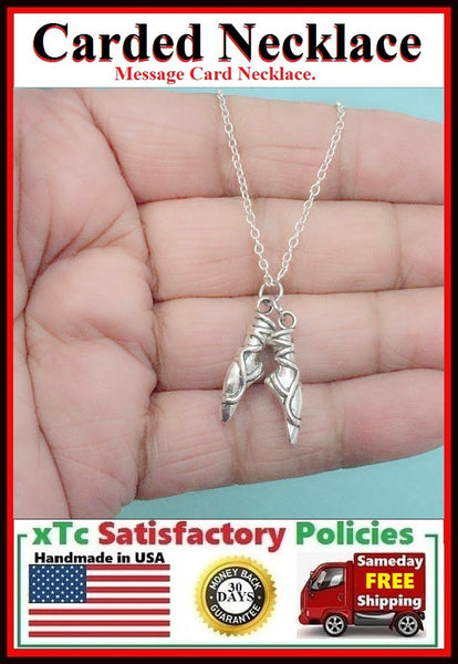 Ballerina Gift; Handcrafted Silver Ballet Pointe Shoes Charms Necklace.