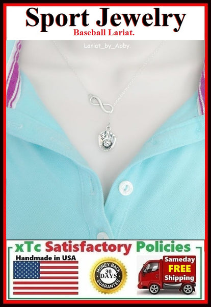 Softball/Baseball Glove Necklace Lariat Style.