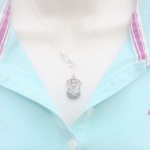 Beautiful EMT Logo Silver Lariat Necklace
