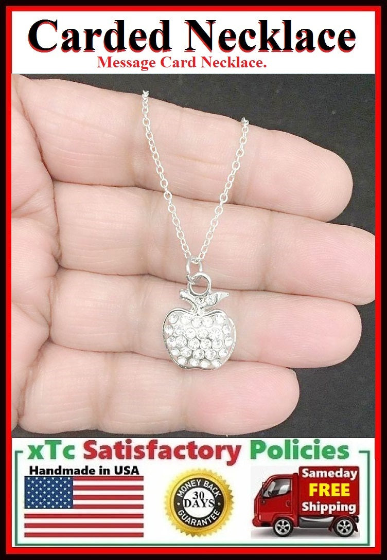 Teacher Gift;  Handcrafted Silver Gems Apple Charm Necklace.