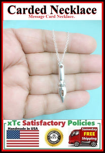 Writer's Gift: Handcrafted Silver CALLIGRAPHY PEN Charm Necklace.