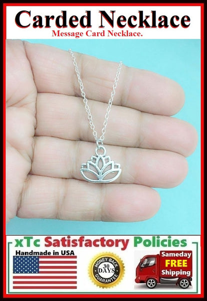 Motivational Flower:  Handcrafted Silver Lotus Flower Charm Necklace.
