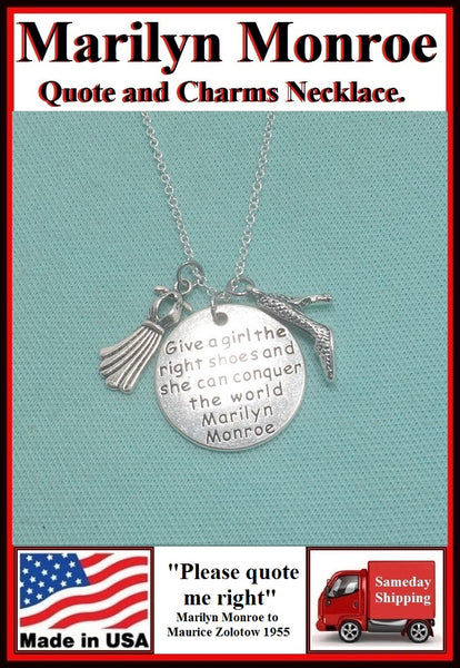 Marilyn Monroe Quote Handcrafted Charms Necklace.