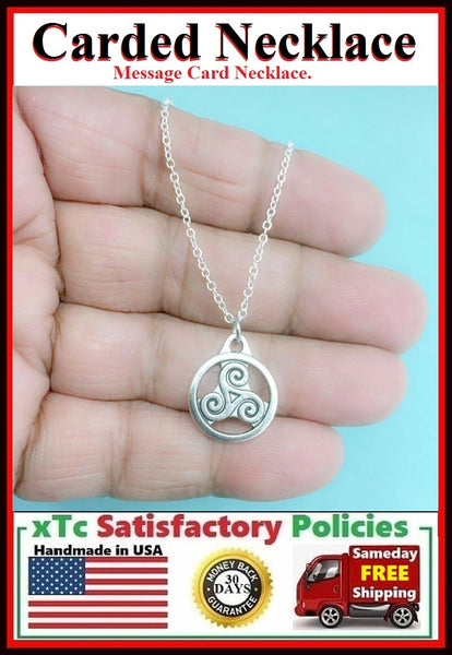 Triple Spiral Necklace; Handcrafted Silver Triskelion Charm Necklace.