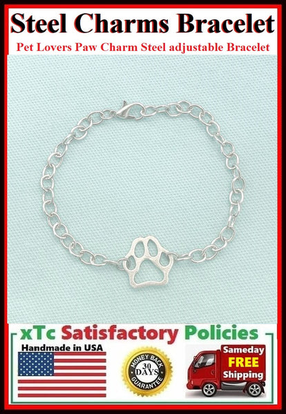 Handmade Paw Print Charm Adjustable Stainless Steel Bracelet.