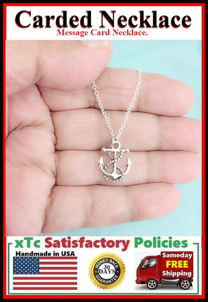 Handcrafted Best Friend Silver ANCHOR Charm Necklace.