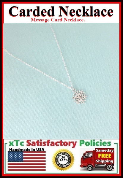 Friend Gift; Handcrafted Silver Snowflake Charm Necklace.
