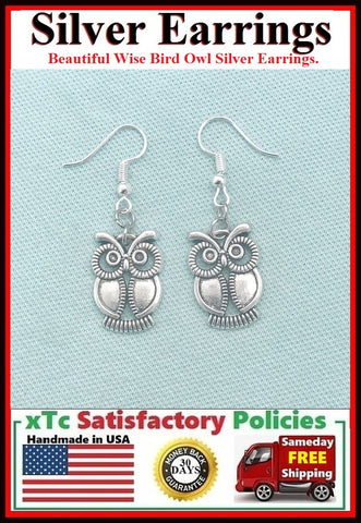 Beautiful Wise Bird Owl Silver Dangle Earrings.