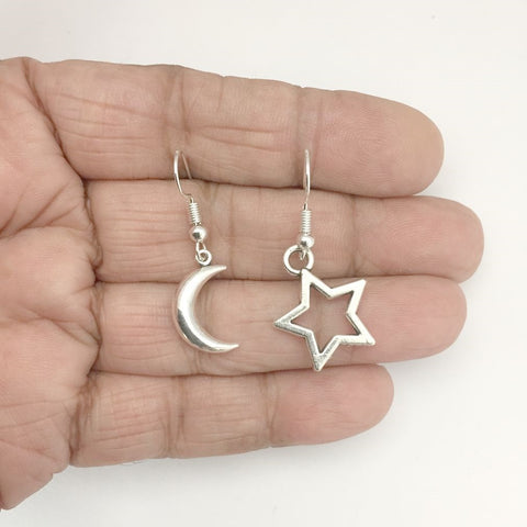 Beautiful Reversible Crescent Moon and Star Silver Earrings.